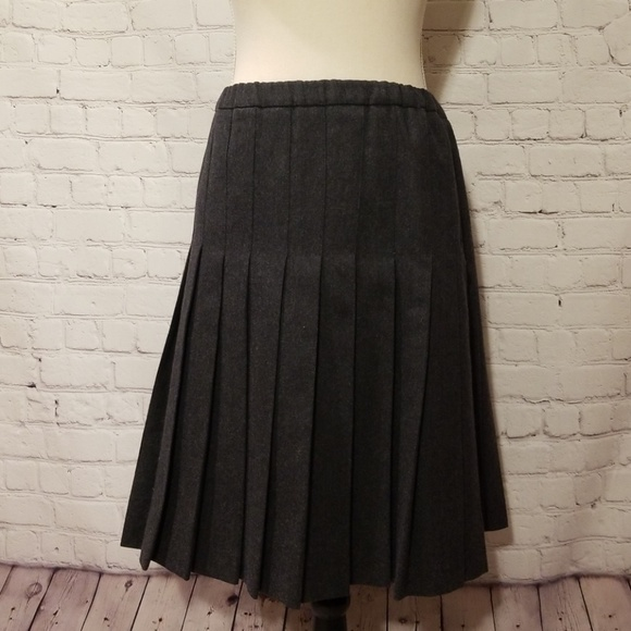 Burberry Dresses & Skirts - Burberry Grey Wool Pleated Skirt